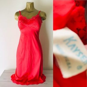 KAYSER Vintage 60's Coral SLIP Nightgown Size 32
